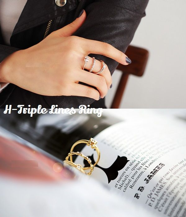 H-Triple Lines Ring. Loving triple lines in just 1 ring! #simplybellary http://www.simplybellary.com/shop/ring/h-triple-lines-ring/