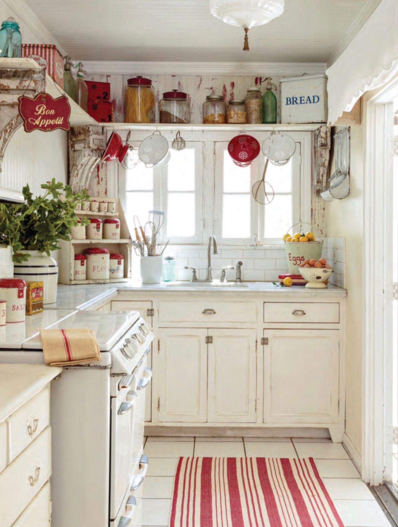 Cute White And Red Kitchen