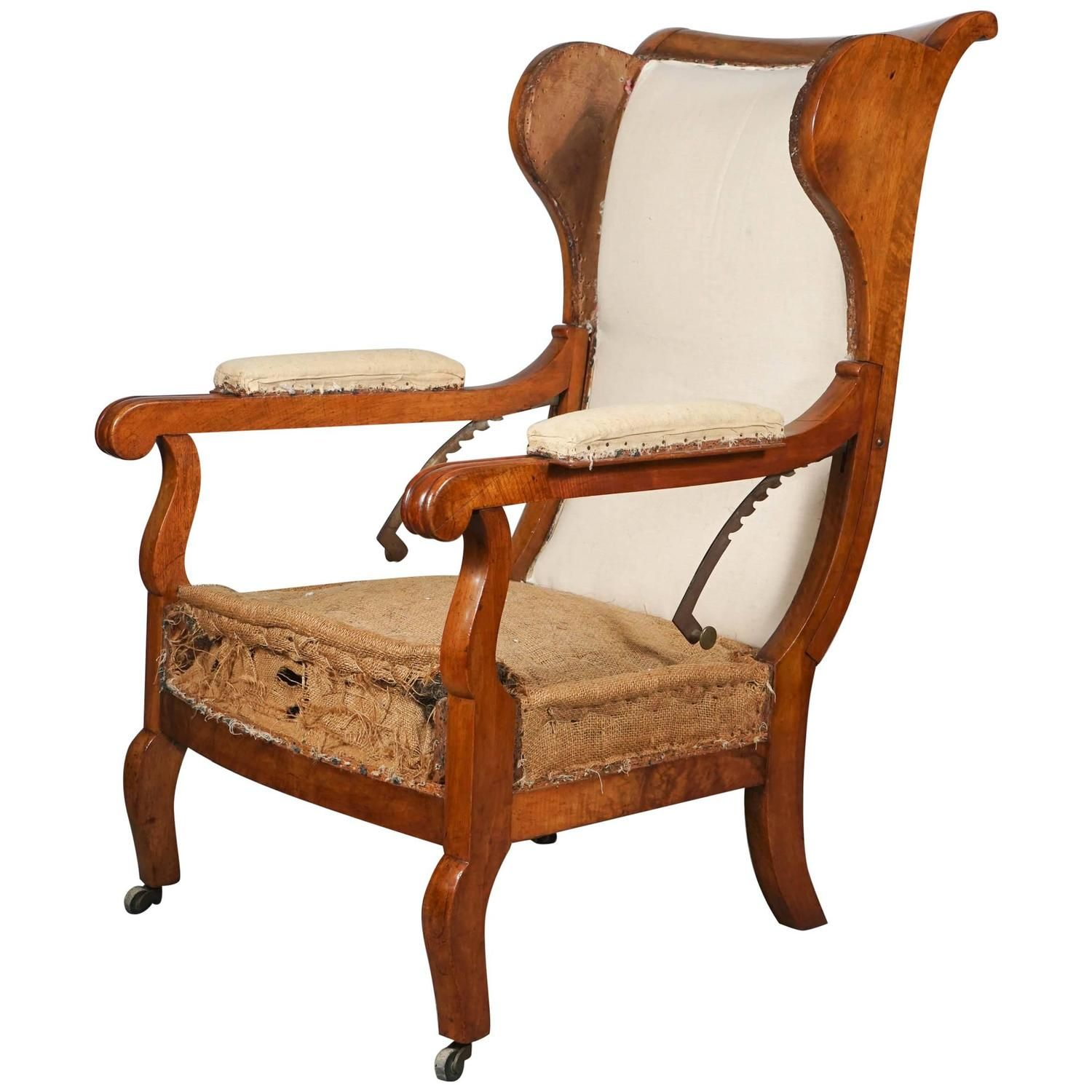 Austrian Biedermeier Articulated Armchair In Fruit Wood Austria