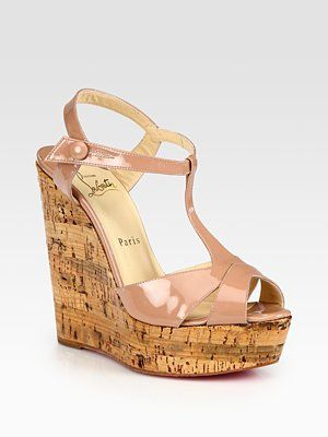 f6b1da304869 Christian Louboutin Patent Leather T-Strap Cork Wedge Sandals Christian  Louboutin Bianca Double-Platform Pump