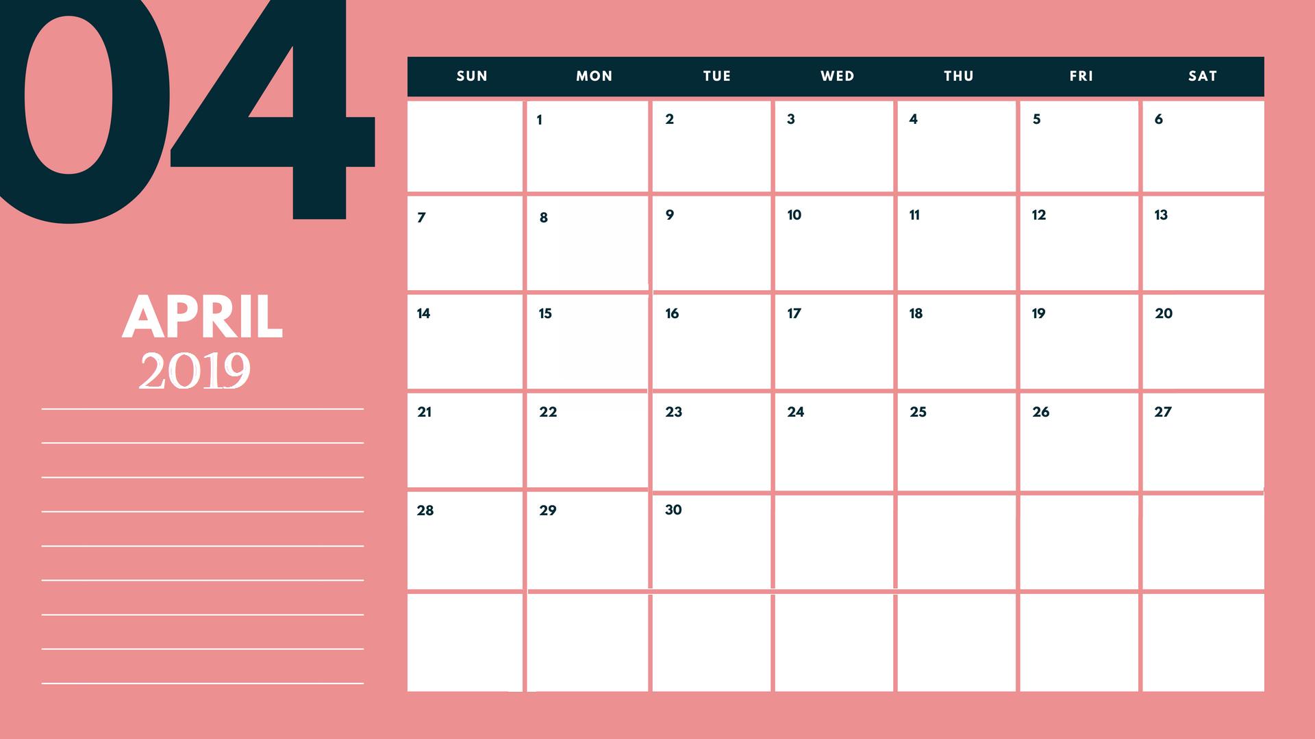 Cute April 2019 Calendar Template July Calendar Calendar Template Desk Calendar Template