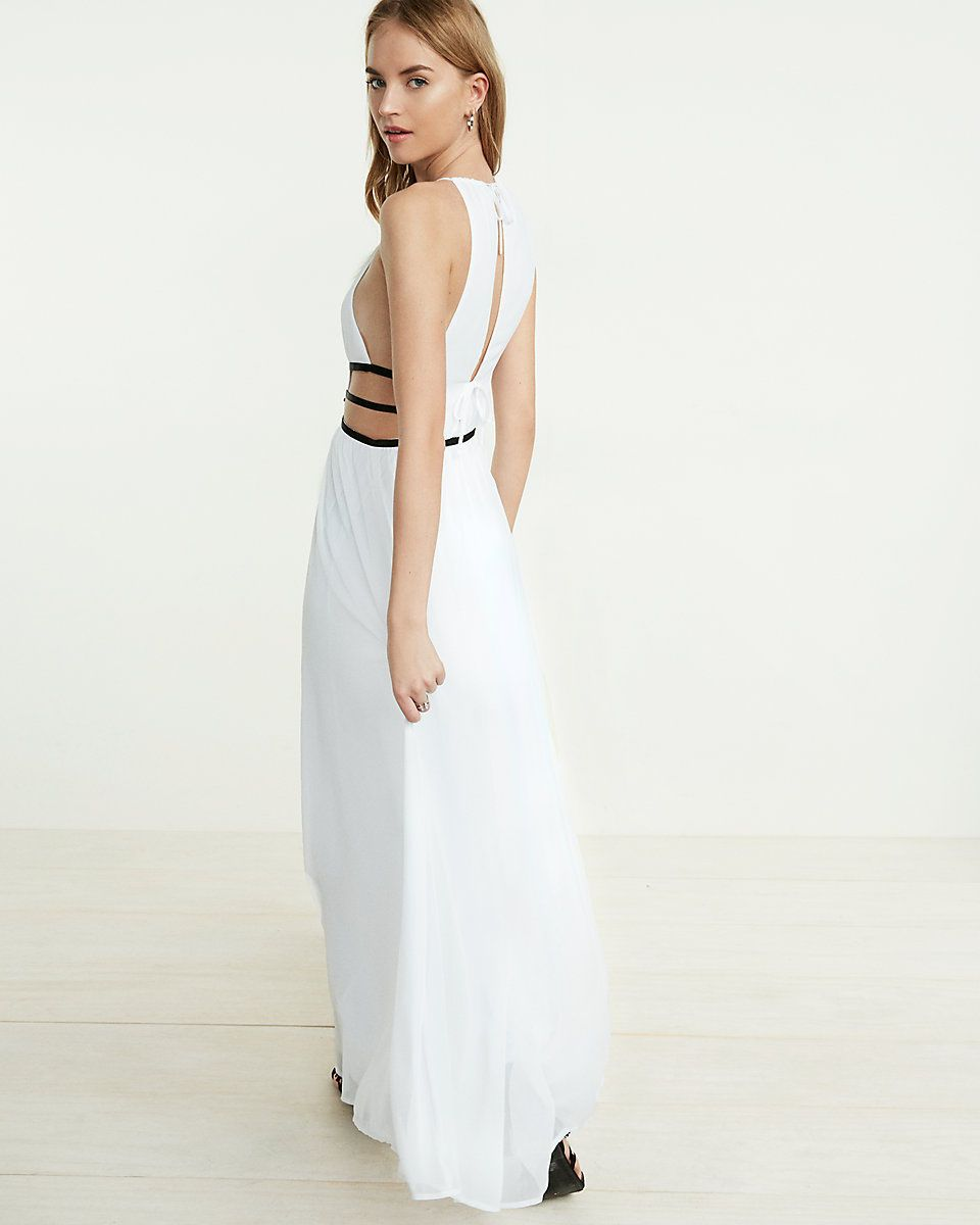 New Express Tropical Maxi Vacation Getaway Dress L Large Strappy White Https T Co J80iy2g9fy Https T Co J80iy2g9fy Maxi Dress Dresses Plunge Maxi Dress [ 1200 x 960 Pixel ]