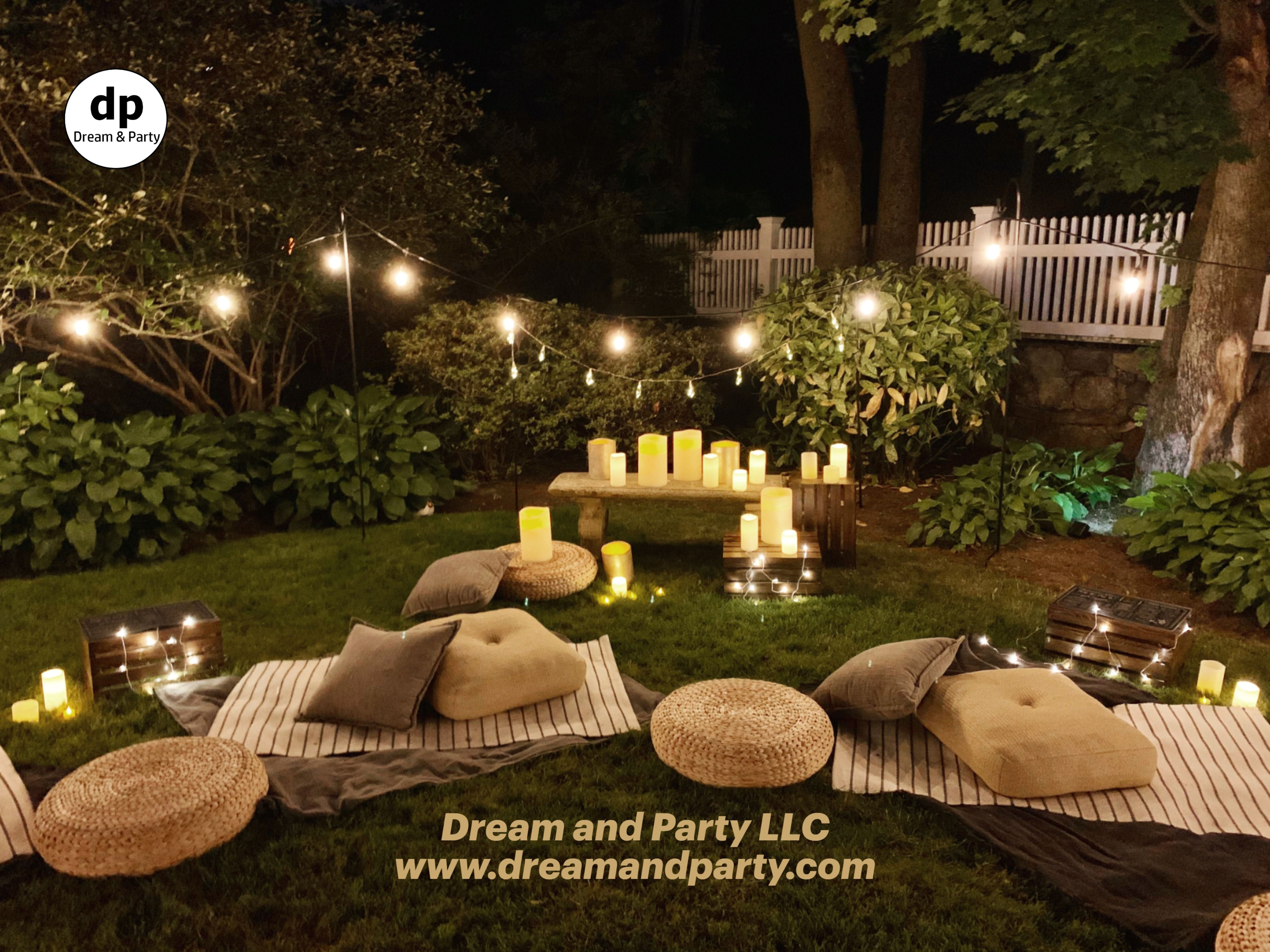 Bistro Lighting Candles Decor Ideas Backyard Party Party At Home Backyard Birthday Parties Movie Night Birthday Party Outdoor Party Decorations