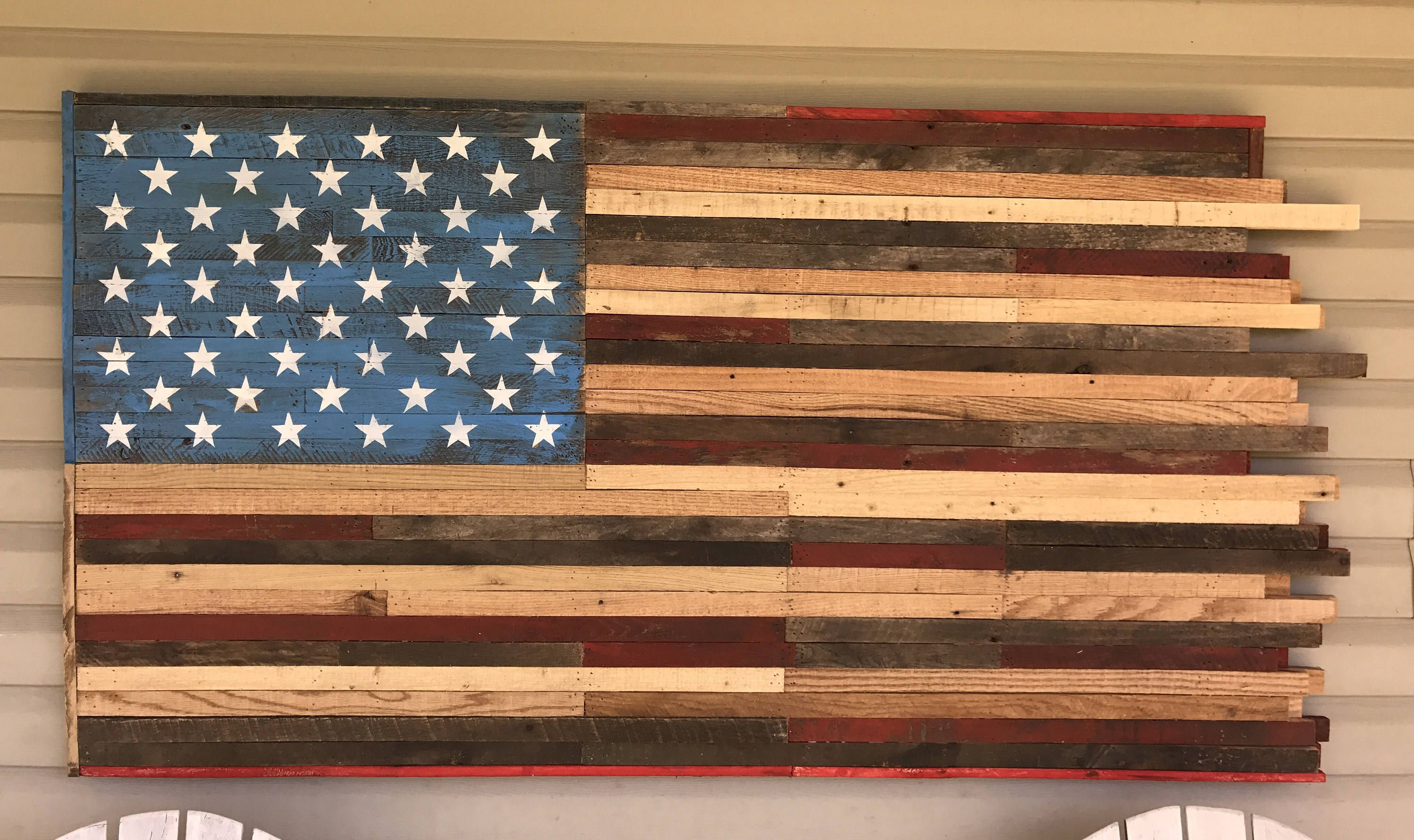 Reclaimed Pallet American Flag Distressed Hanging Wall Art 60 Long X 31 1 2 Wide 3d By Kustomw American Flag Wall Art American Flag Wood American Flag Pallet