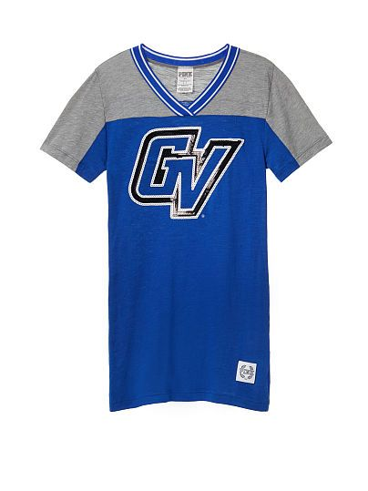 Grand Valley State University Bling Fitted V-neck Tee PINK