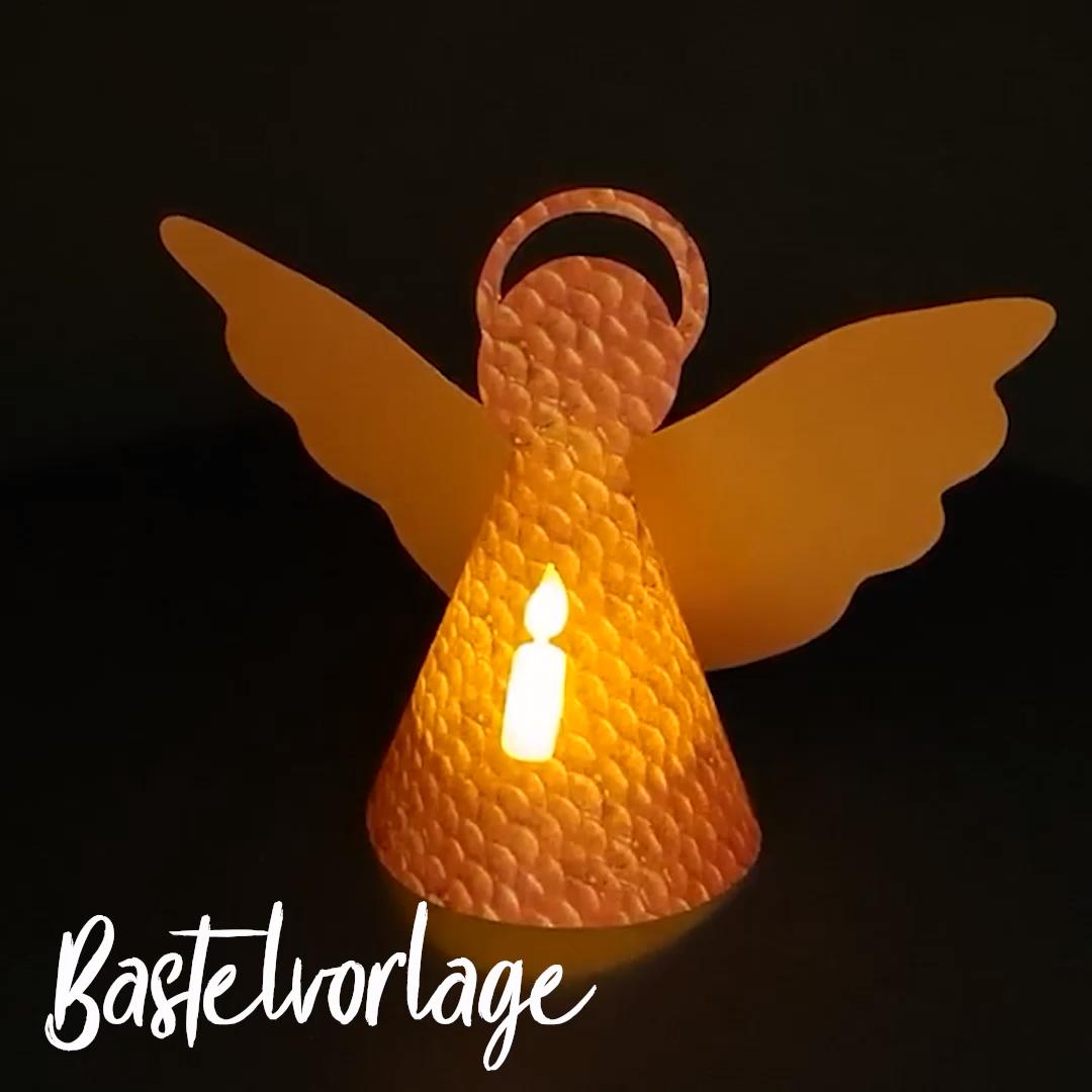 Weihnachtsengel basteln - Origamipapier mit LED-Teelicht #weihnachtsmarktideenverkauf