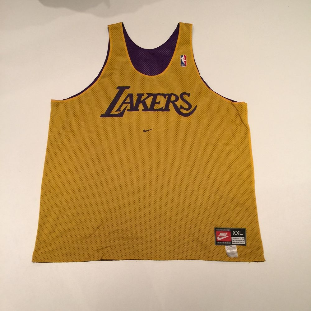 f0a78d44387 ... Vintage Reversible Los Angeles Lakers NBA Nike Practice Jersey Adult  Size in Sports Mem, Cards Kobe ...