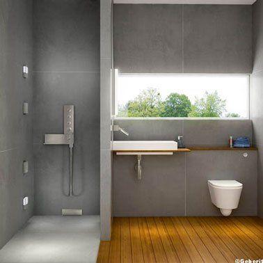 de bain avec douche italienne carrelage gris Gerberit - salle de bains avec douche italienne