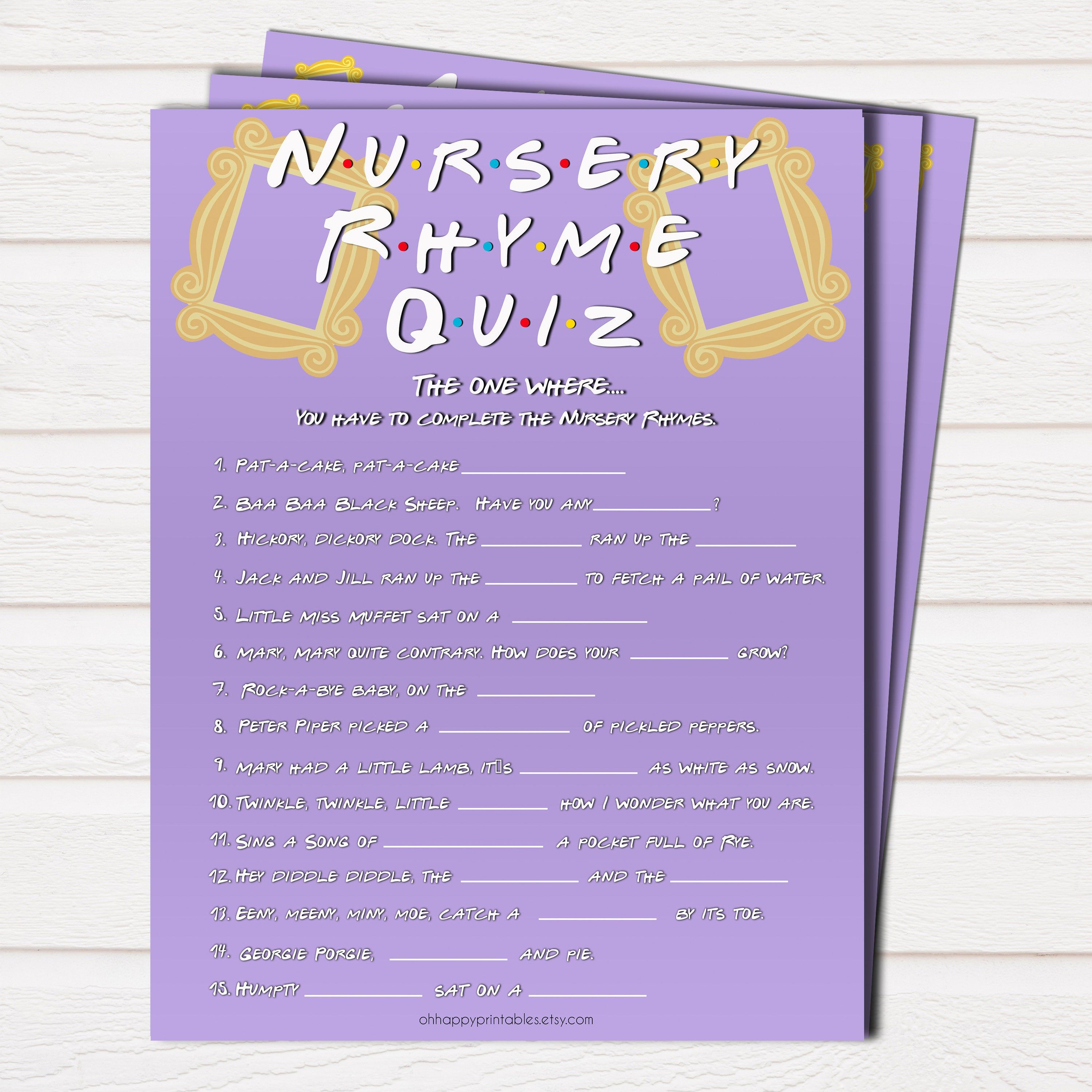 The One Where Nursery Rhyme Quiz Printable Baby Shower