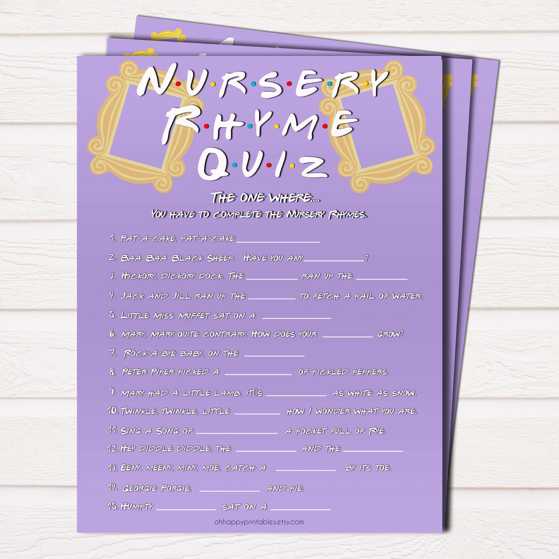 The One Where Nursery Rhyme Quiz Printable Baby Shower