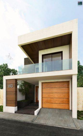Fachadas de casas modernas de dos pisos fotos y detalles for Pisos pequenos de diseno