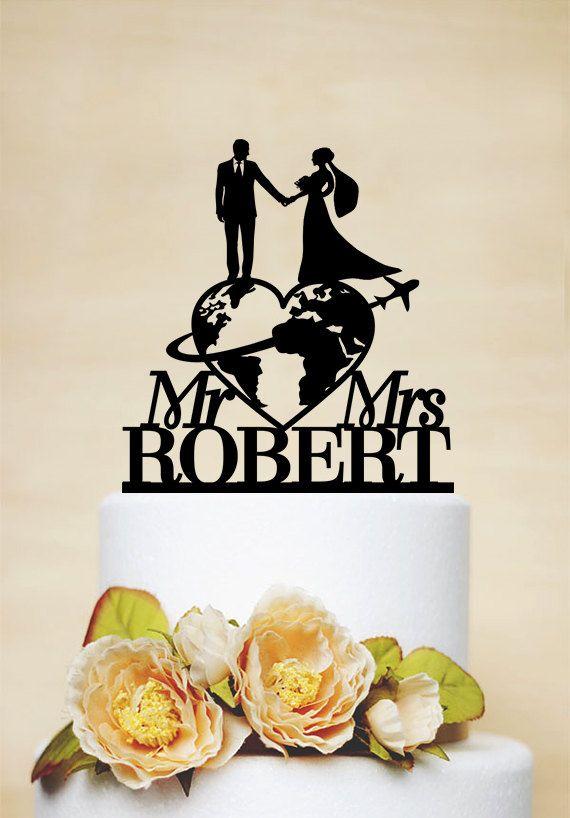 Travel Themed Wedding Cake Topper Mr Mrs Cake Topper Last Name