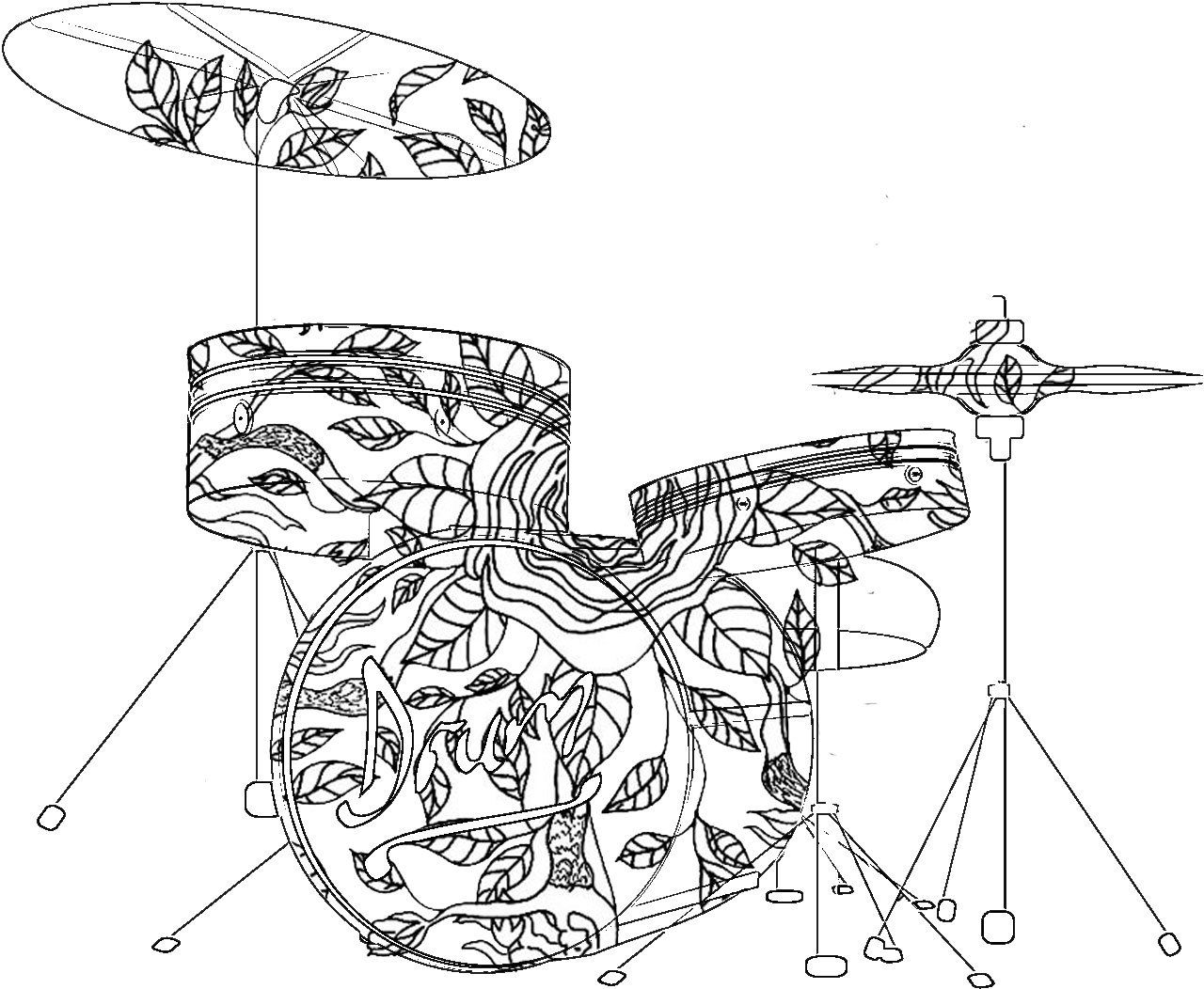 Adult Coloring Pages Drums ADULT