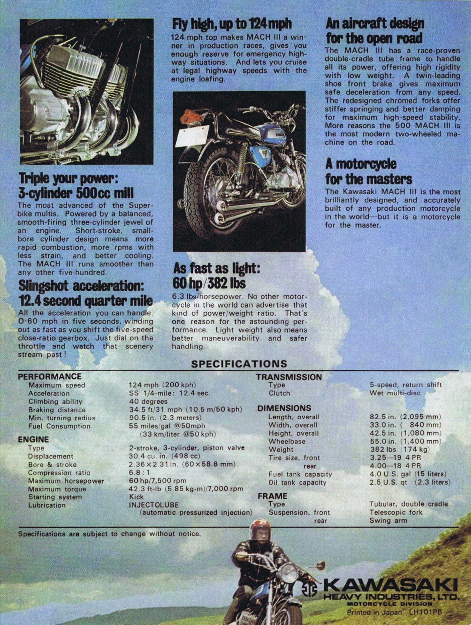 1971 Kawasaki 500 H1 MACH III 2 stroke brochure GB 04