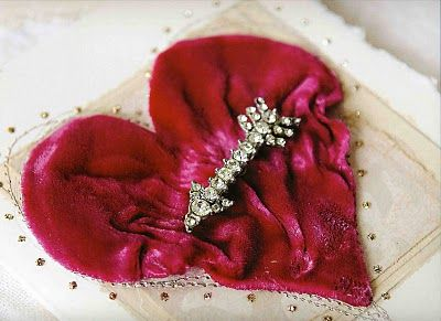 ❥ Red velvet Valentine heart with a rhinestones cupid's arrow by Julie Collings!