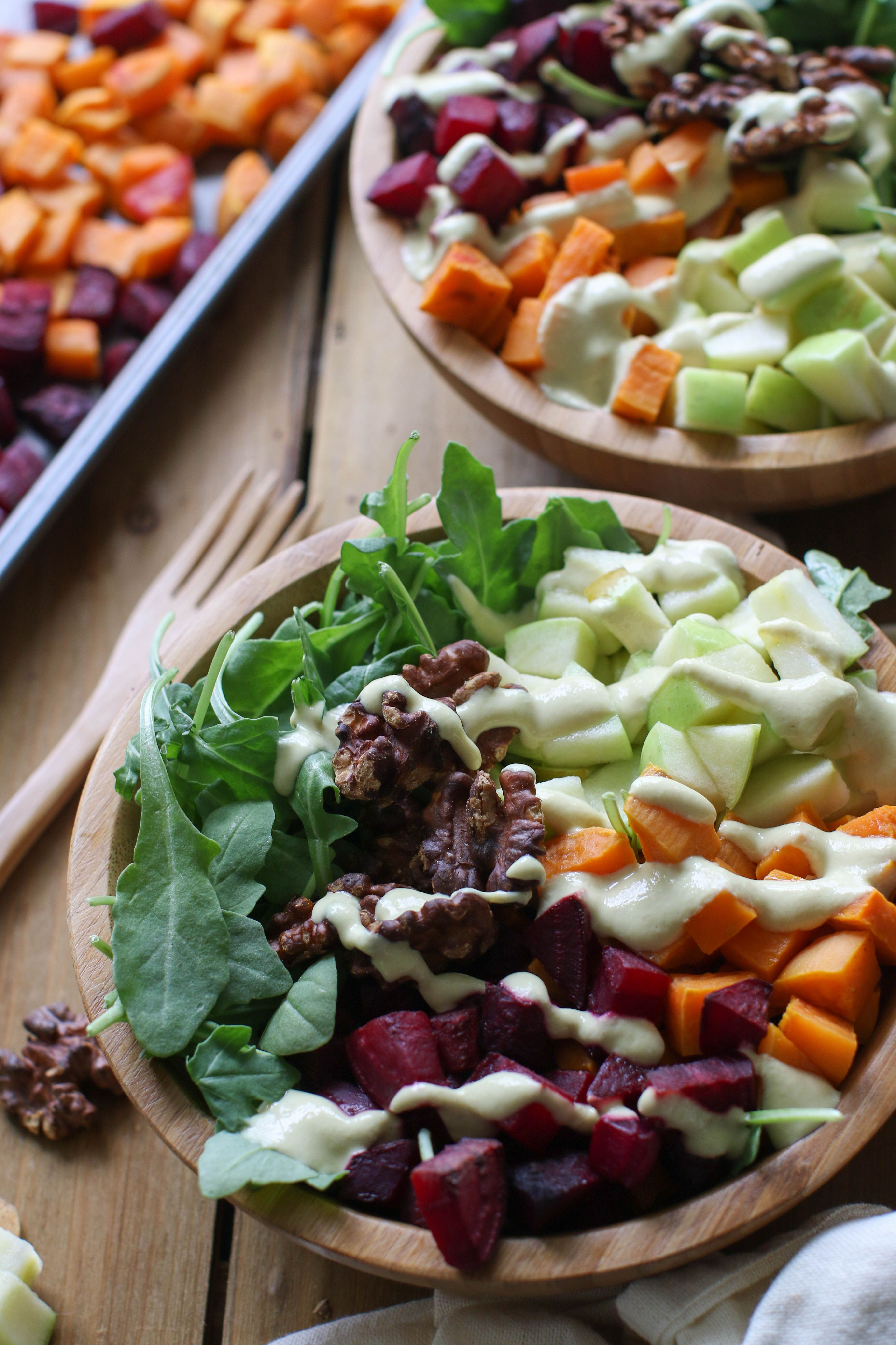 Autumn harvest salad bowls with maple mustard tahini