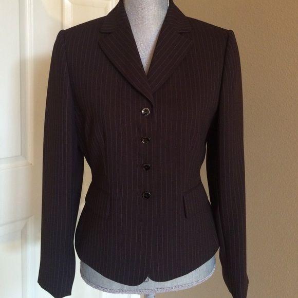 Tahari brown pinstripe blazer Clean classic design.  A great wardrobe piece. Single breasted with elegant buttons. Tahari Jackets & Coats Blazers