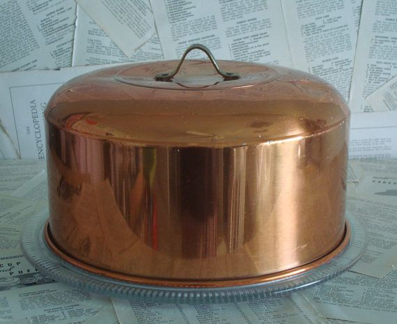 Vintage COPPER Cake COVER with Large Glass by MadHatterPlatters