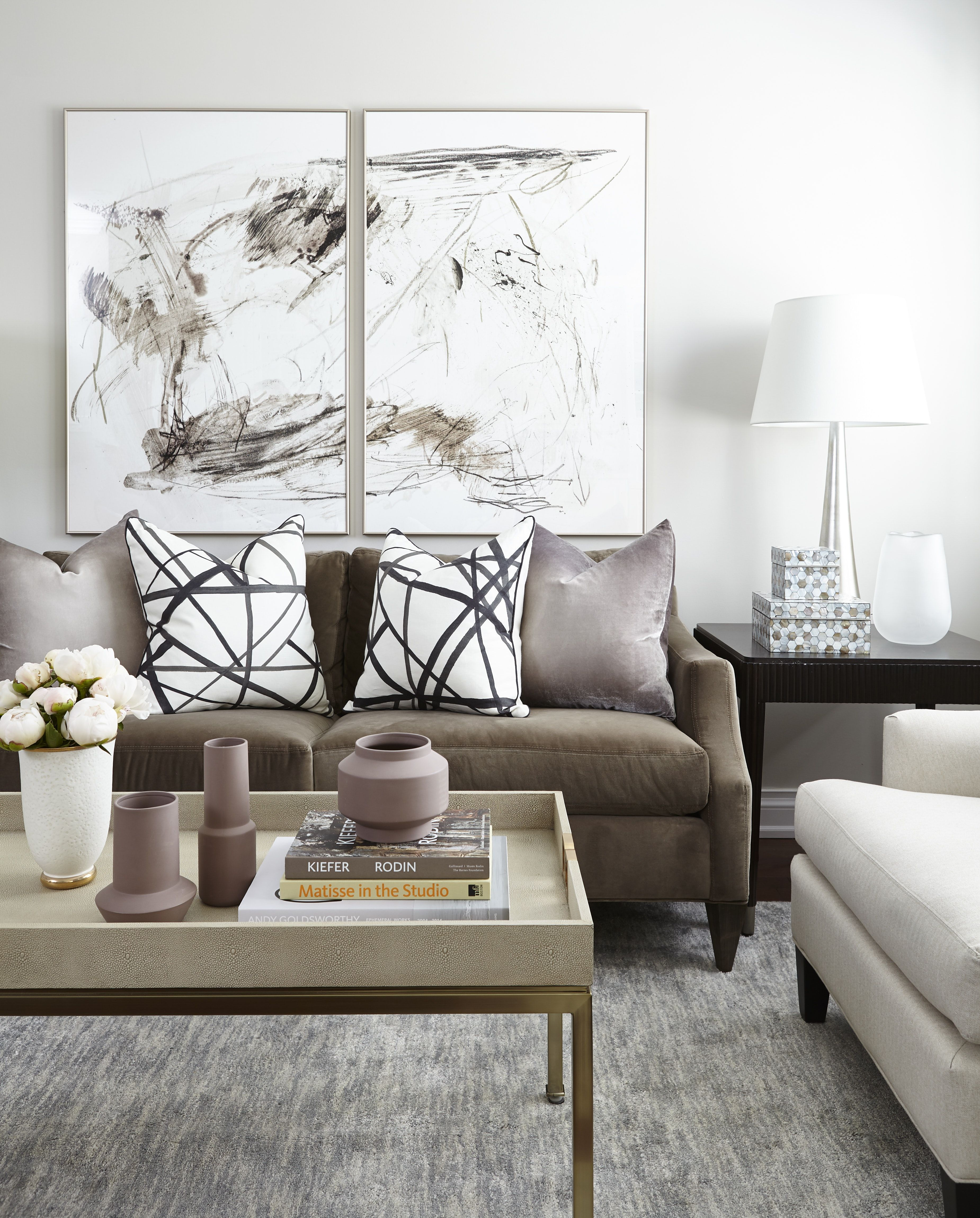 Toronto Townhouse Contemporary Living Room with Diptych Abstract