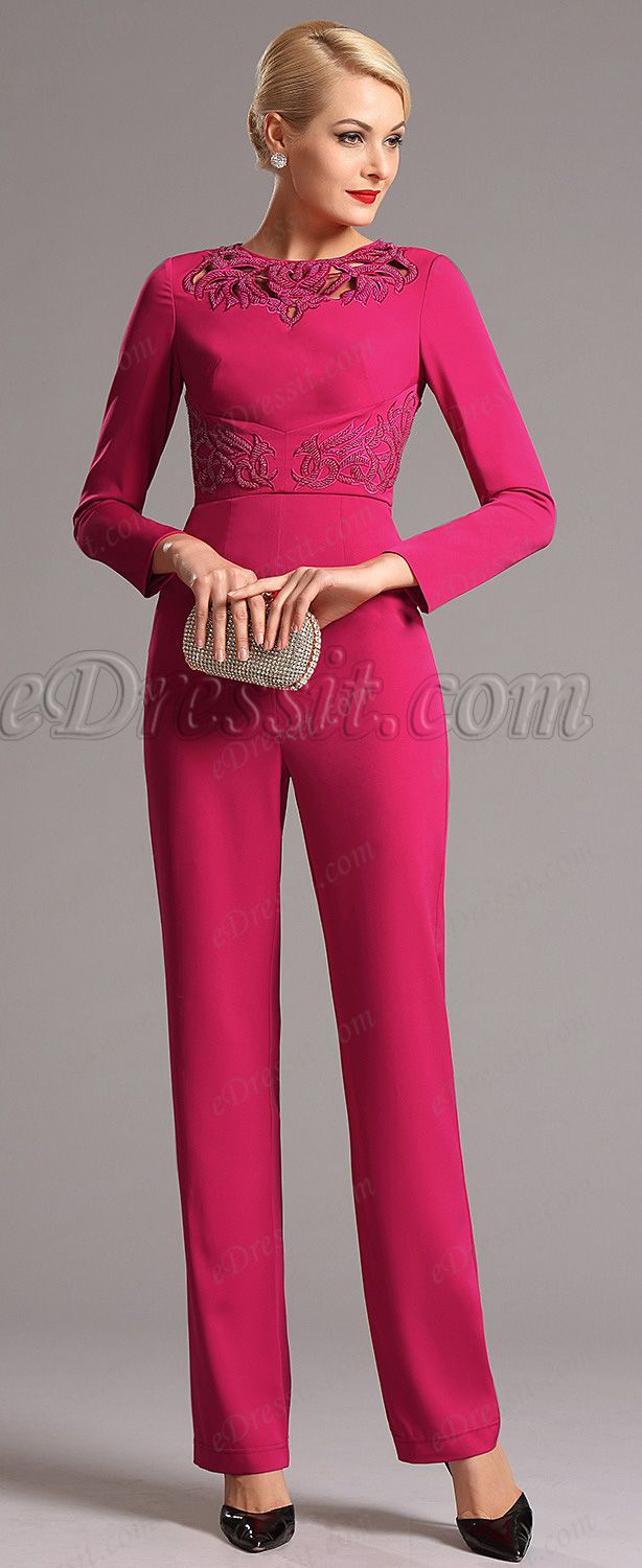 Hot pink hollowed jewel neck long sleeves jumpsuit hot new fashion