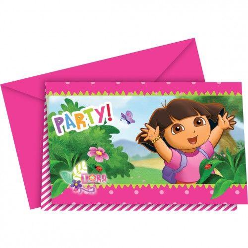Invitaciones de Dora La Exploradora para cumpleaños y fiestas infantiles