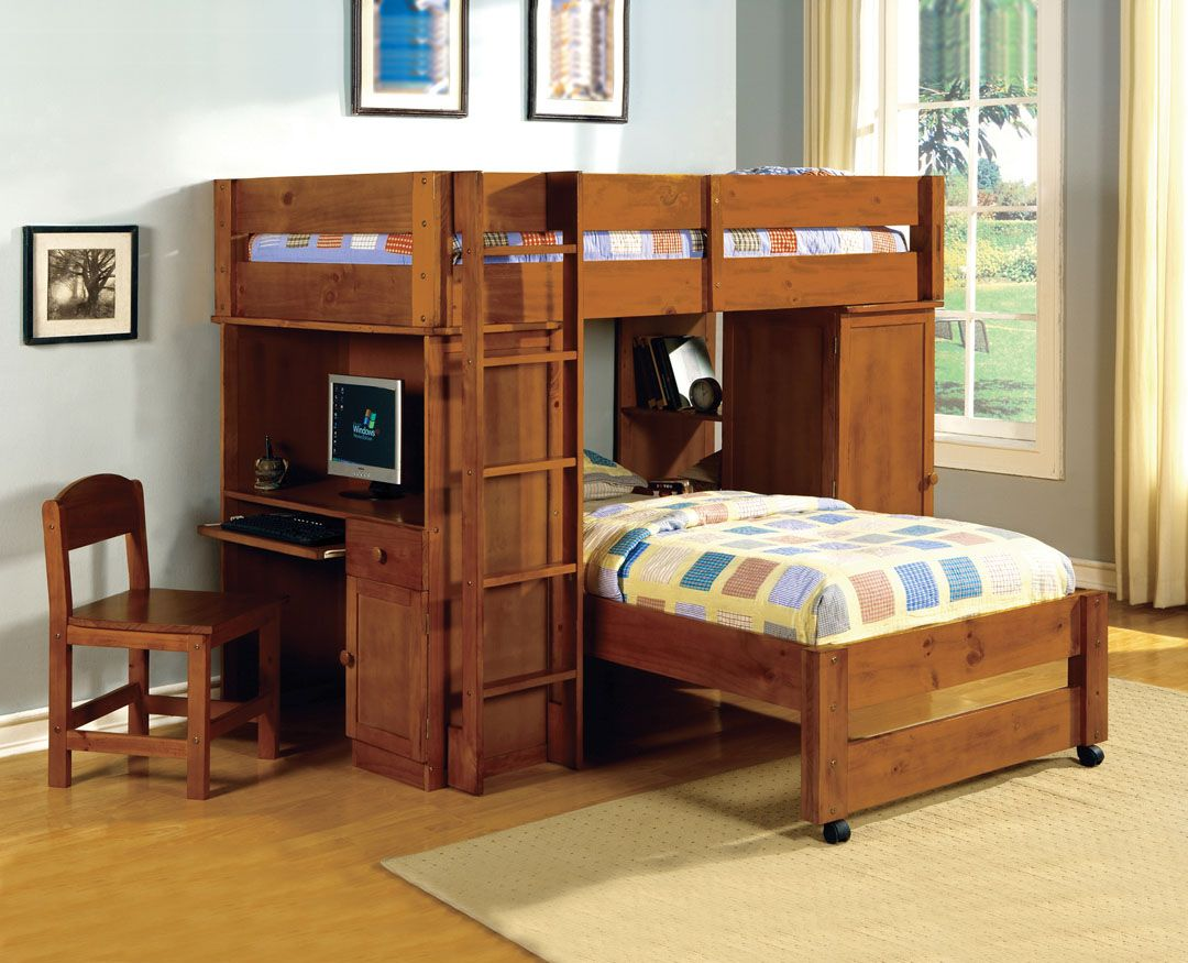 Loft bed with desk and trundle  Harford II Dark Walnut Finish Twin over Twin Loft Bed with Built in