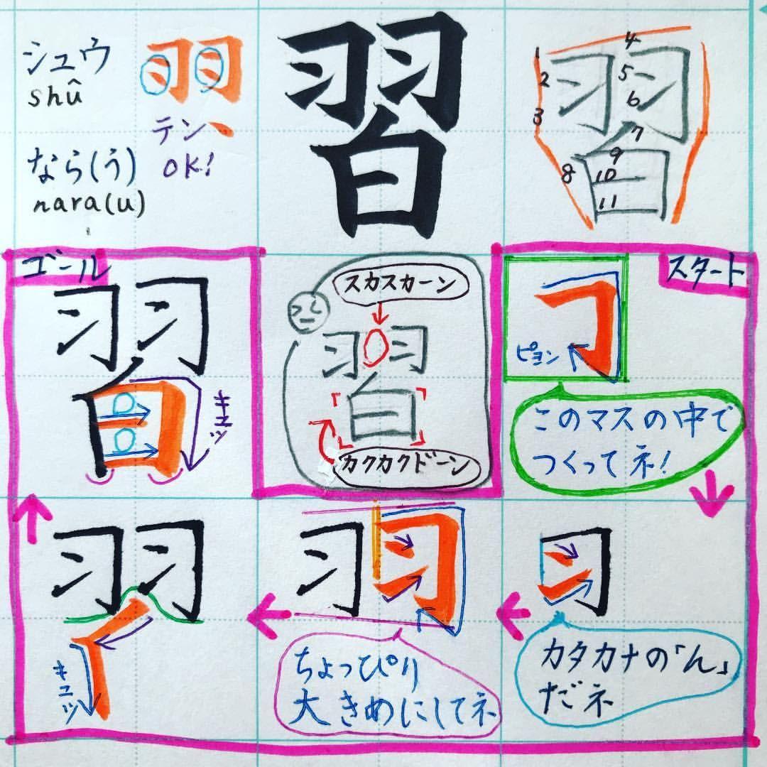 小3で習う漢字 習 シュウ なら う 羽 白 羽 1画目の枠をつくったら 2 3画目のンを中に入れてね 4 5 6画も同じだけど ちょっと大きめにしてみると 立体感がでるね 白 7画目のノは 羽のすき間にはめ込むと 羽と白がぴったり