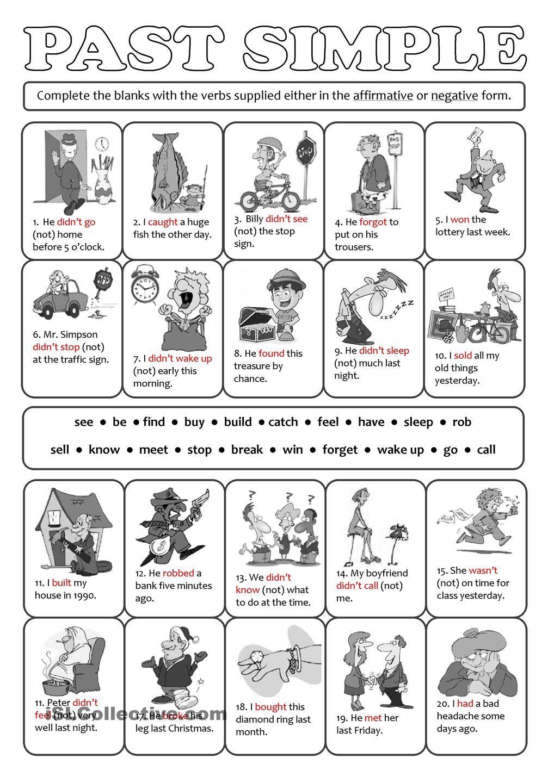 PAST SIMPLE - affirmative & negative   ENGLISH LANGUAGE WORKSHEETS ...