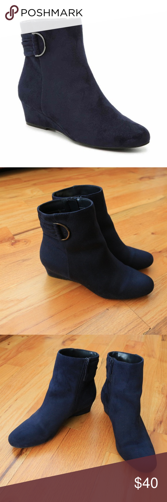e90e08176a5 IMPO GAVYN WEDGE BOOTIE Navy Blue Suede Like new