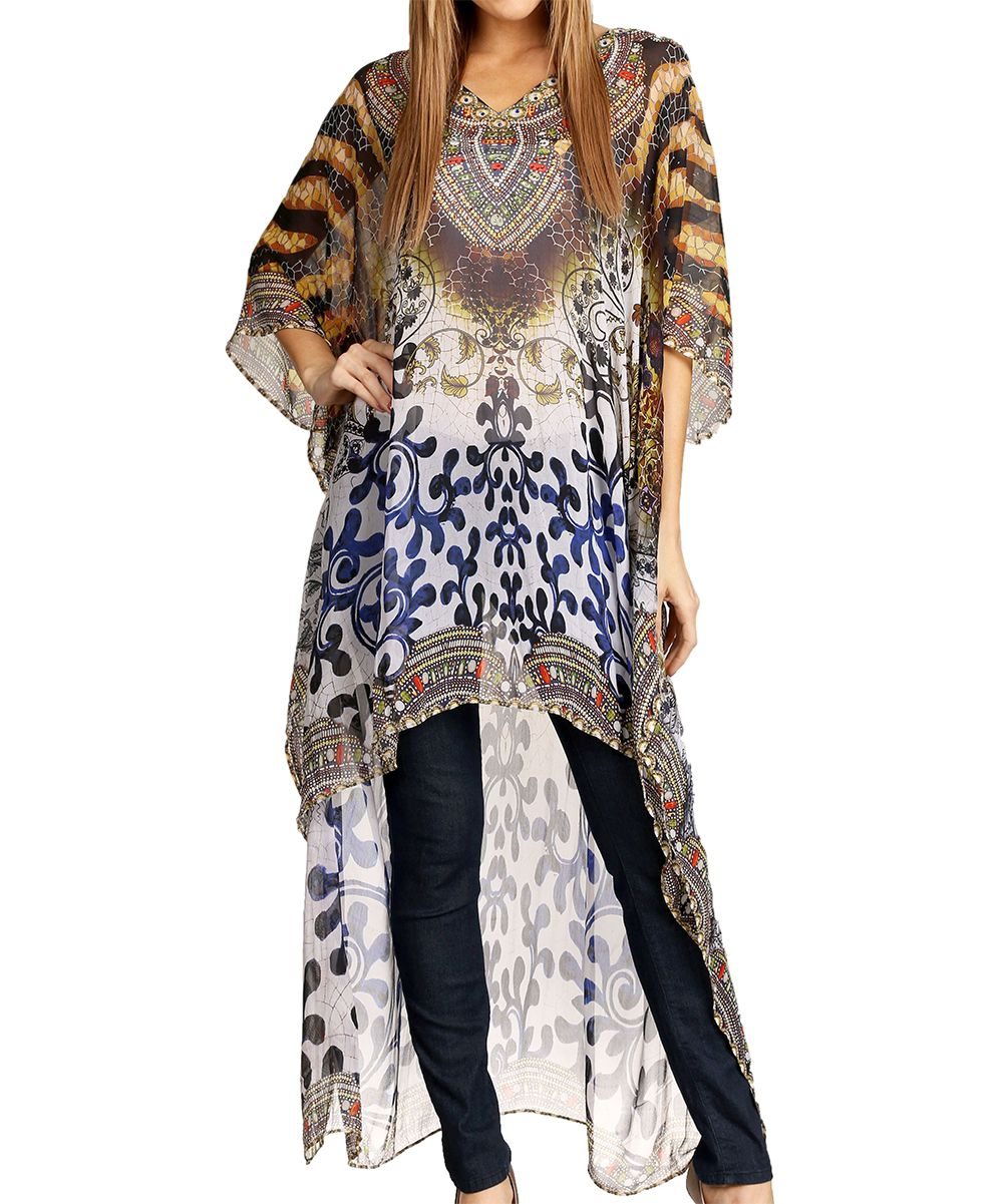 Brown & White Abstract Rhinestone Hi-Low Caftan