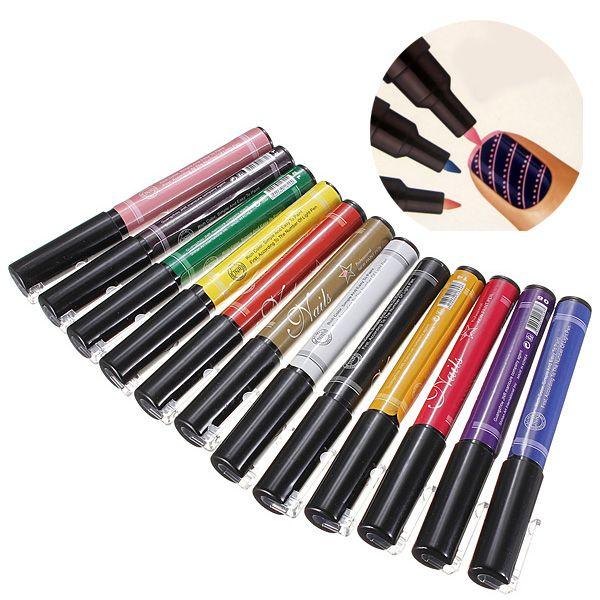 12 Colors Nail Art Drawing Pen Nail Varnish Polish Design Paint Pen ...