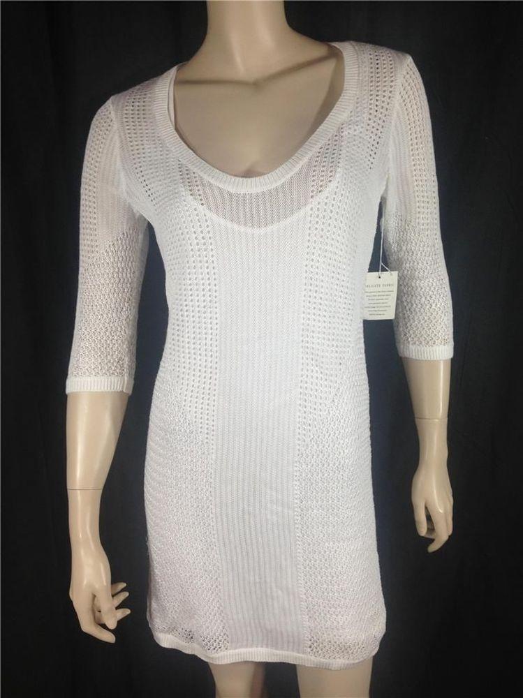 314bc9a88a4 T2 Victoria s Secret White Crochet Open-Stitch Shift Cover-Up Sweater Dress  M