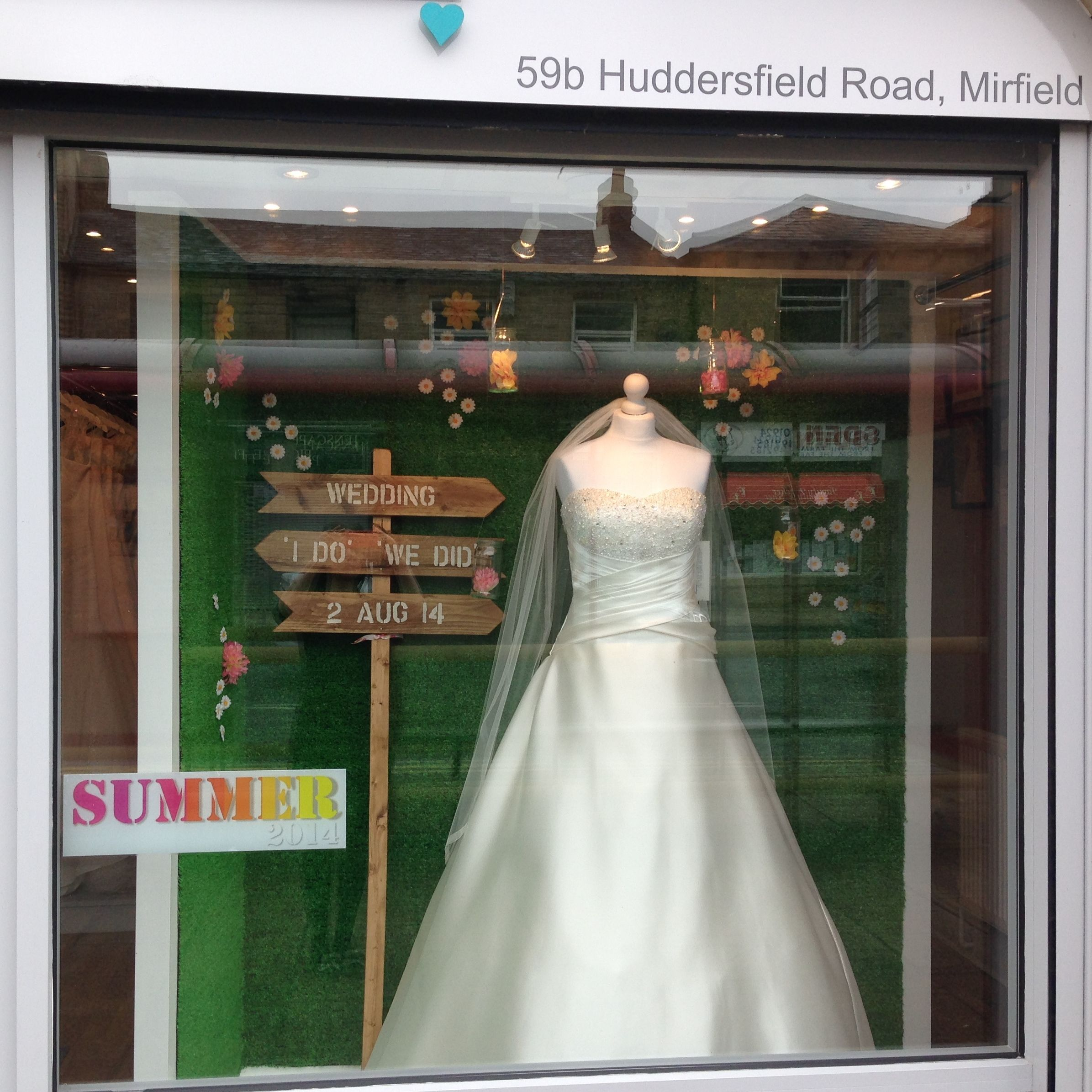 Wedding dress shop windows Summer 2014. Alison Jane Bridal ...