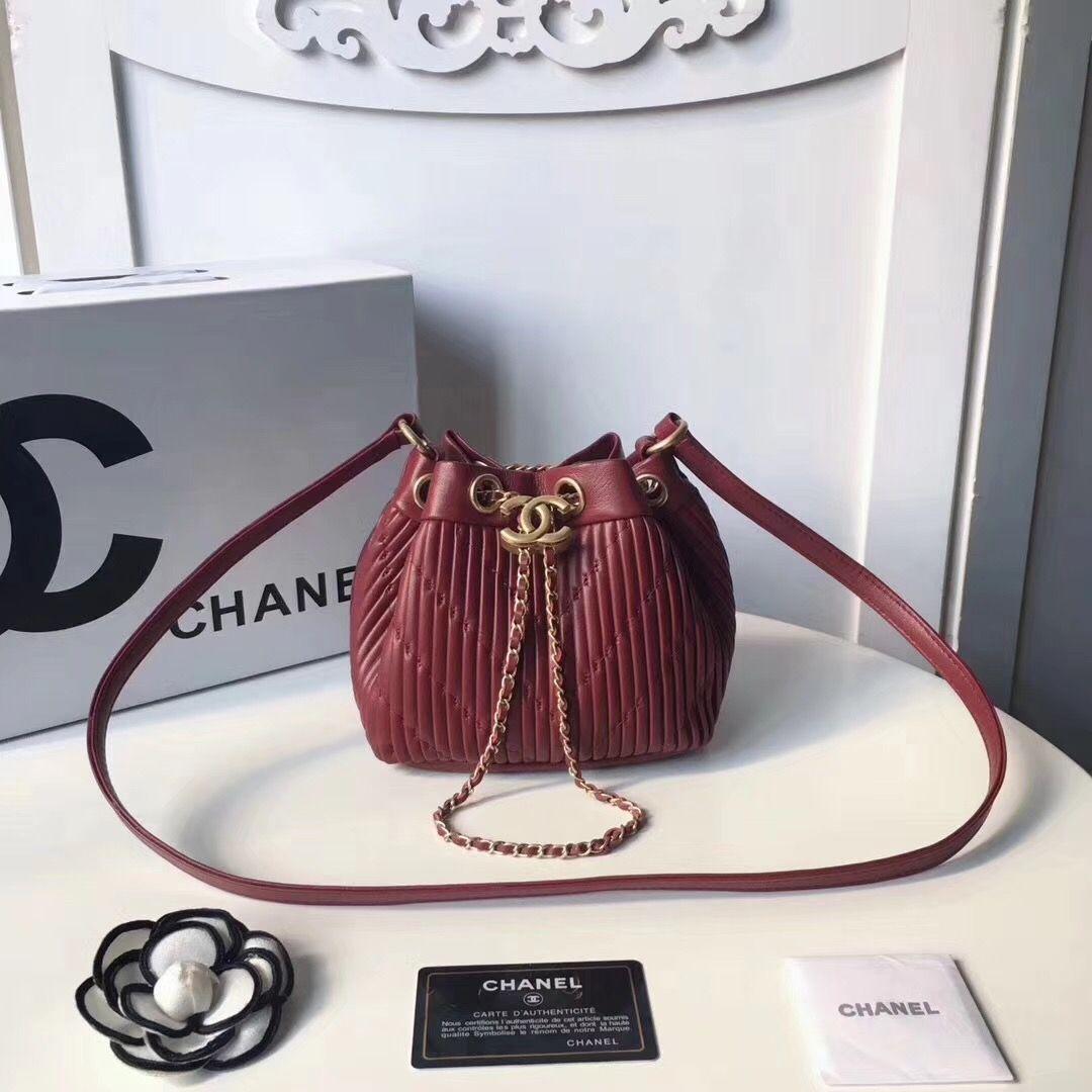 c9dde79a533a Chanel woman mini bucket bag stripes style original leather version ...