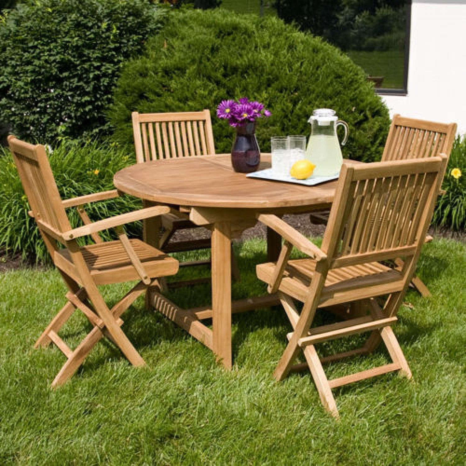 Outdoor Wood Folding Table And Chairs Set