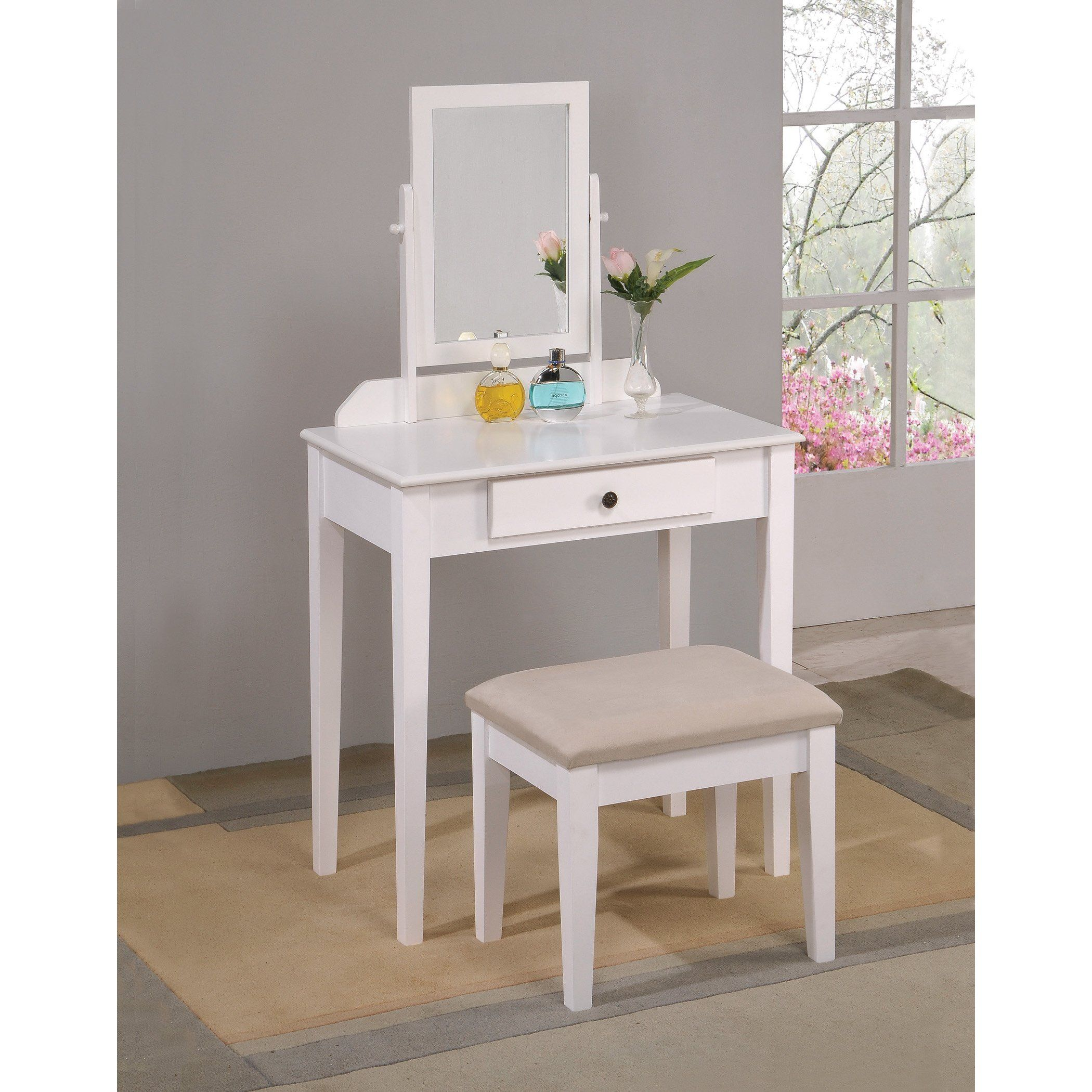 White bedroom vanity table with tilt mirror u cushioned bench