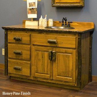 Real Hickory Rustic Bathroom Vanity 48 72 Con Imagenes