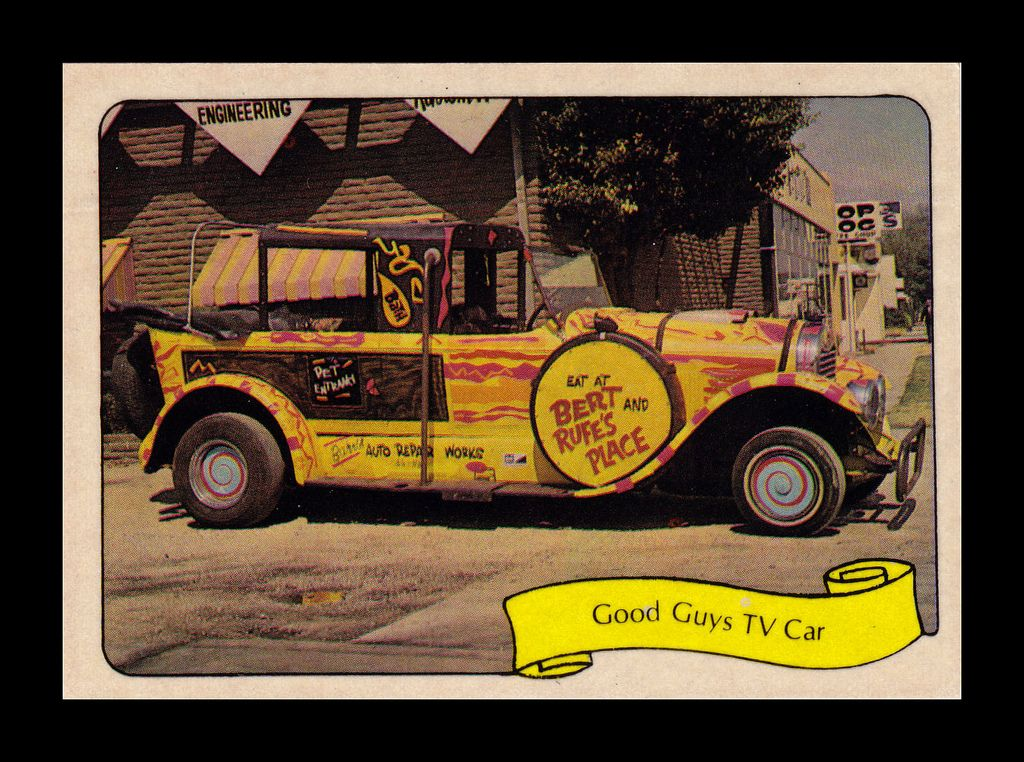 """https://flic.kr/p/9MJ4X5   Fleer """"Kustom Car"""" Sticker, 1975   """"This antique Lincoln was the taxicab in Bob's TV show and was duplicated as an MPC model kit with different wheels and tires for lopsided riding.  It's got turnstile bucket seats, an umbrella, and an anchor for brakes."""