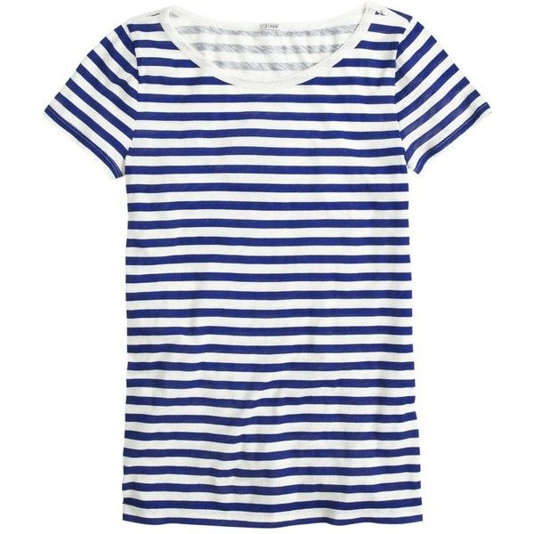 J.Crew Vintage cotton scoopneck tee in stripe ($35) ❤ liked