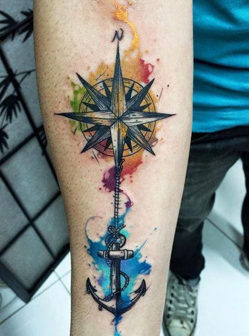 Colorful Compass Tattoos - Best Compass Tattoos For Men: Cool Compass Tattoo Designs and Ideas For Guys #tattoos #tattoosforguys #tattoosformen #tattooideas #tattoodesigns