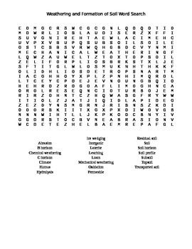 Weathering and formation of soil word search word search for Scientific word for soil