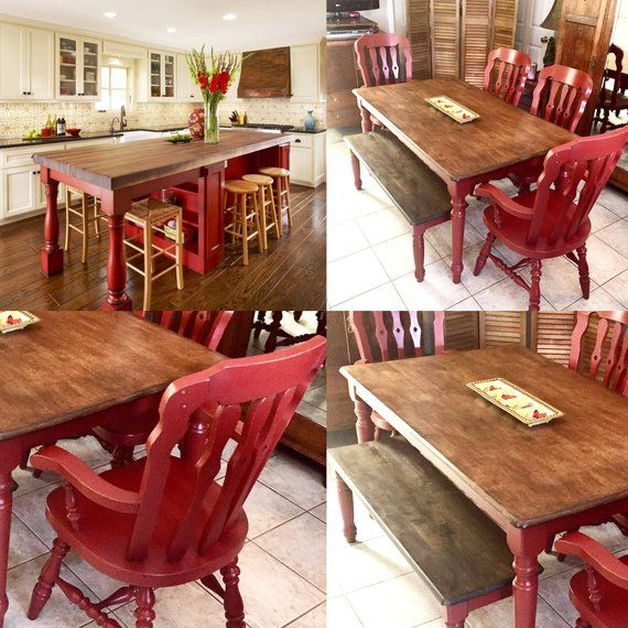 Farm Table Farmhouse Dining Chairs Painted Red Rustic Distressed Maple Butcher Block Wood ...
