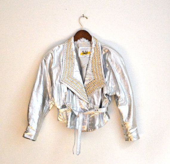 Amazing Vintage 80s Silver Studded Leather Jacket by Hookedonhoney, $245.00