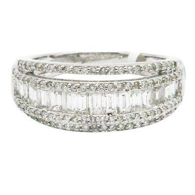 $895.50   14K WHITE GOLD ROUND BAGUETTE PAVE DIAMOND WEDDING BAND