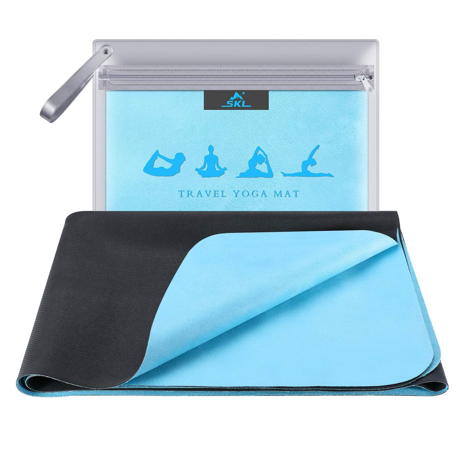 Skl Travel Yoga Mat Foldable 1 16 Inch Thin Hot Yoga Mat Non Slip Sweat Absorbent Fitness In 2020 Travel Yoga Mat Hot Yoga Mat Floor Workouts
