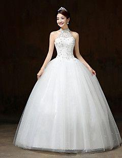 Ball Gown Wedding Dress White Floor Length Halter Lace Satin Tulle