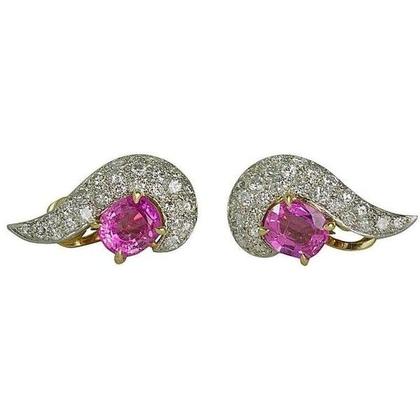 Preowned Keith Davis Pink Sapphire Diamond Platinum Earrings (88.655 ARS) ❤ liked on Polyvore featuring jewelry, earrings, pink, platinum jewelry, diamond jewellery, diamond earrings, round diamond earrings and pink sapphire earrings