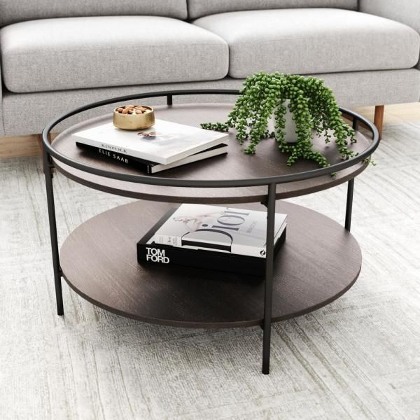 Nathan James Paloma Dark Oak And Black Circle Top Edge 2 Tier Round Cocktail Coffee Table With Tray 32001 The Home Depot In 2020 Circle Coffee Tables Coffee Table Wood Coffee Table With Storage