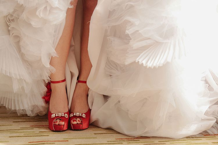 The pretty bride's shoes ;)  #wedding #weddingshoes #shoes #redshoes #red #alecksmutucphotography