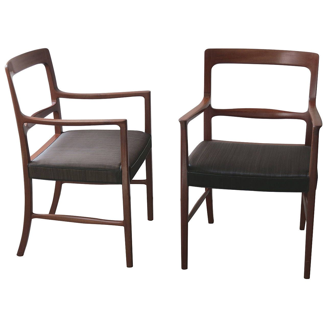 Pair of Mahogany and Original Horsehair Armchairs by Ole Wanscher ...
